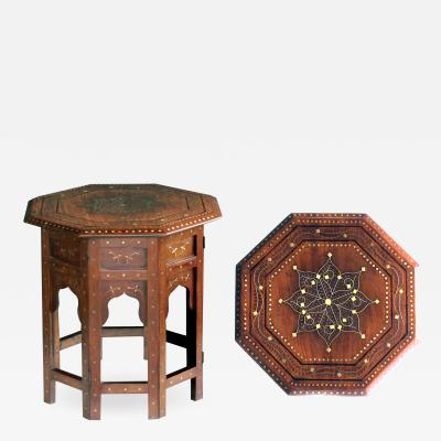 Intricately Detailed Brass and Pewter Inlaid Anglo Indian Traveling Table