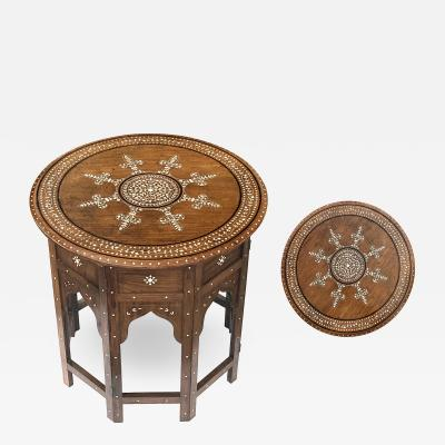 Intricately Inlaid Anglo Indian Circular Traveling Table