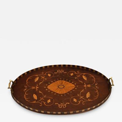 Intricately Inlaid English Victorian Marquetry Oval Tray with Brass Handles