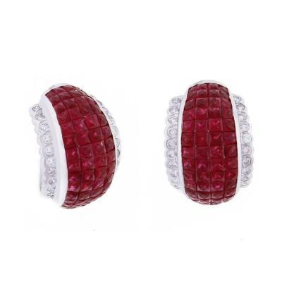 Invisible Ruby Diamond Hoop Earrings