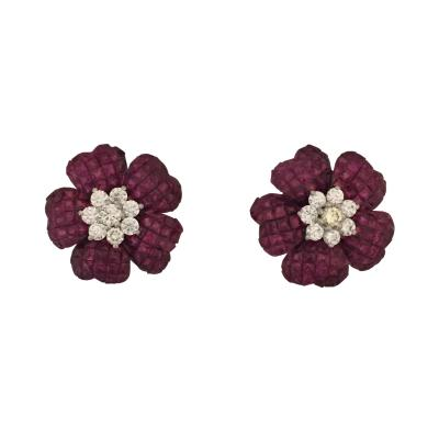 Invisibly Set Earrings with Rubies and Diamonds