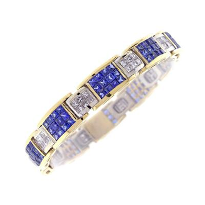 Invisibly Set Sapphire and Diamond Bracelet