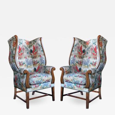 Inviting Pair of English Country Style Wing Chairs