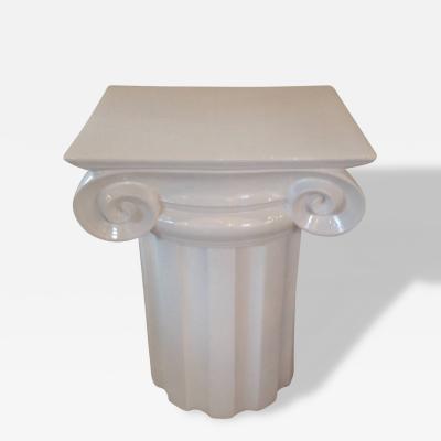 Ionic Column White Ceramic Mid Century End Table or Pedestal