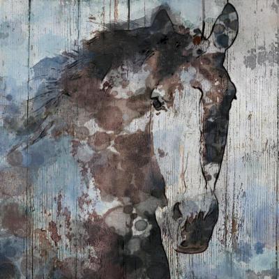 Irena Orlov 50x50 Blue Wild Gorgeous Horse Mixed Media on Canvas