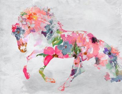 Irena Orlov Beautiful Floral Horse Mixed Media