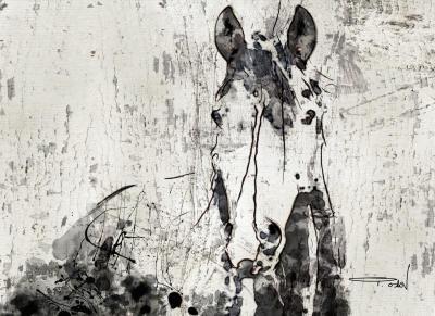 Irena Orlov French Kiss Horse 60x40 Mixed Media on Canvas