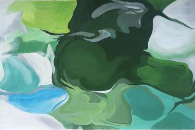 Irena Orlov Green Blue Abstract Oil Painting 48 H X 72 W Ode To Spring Irena Orlov