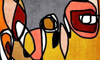 Irena Orlov MidCentury Modern Mixed Media on Canvas 40 X 60 Vibrant Colorful Abstract 03