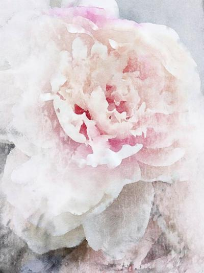 Irena Orlov Peony Painting Blush Pastel Pink Mixed Media on Canvas