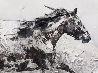 Irena Orlov Running Horse White Black Mixed Media Painting on Canvas 48 x 36