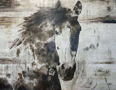 Irena Orlov Wild Gorgeous Horse Natural 60x45 Mixed Media