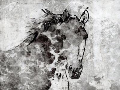 Irena Orlov Winter Horse 60x40 Mixed Media