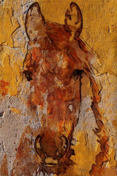 Irena Orlov Yellow Horse 60X40 Mixed Media on Canvas