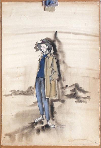 Irene Sharaff 5 Original Elizabeth Taylor Sandpiper Costume Sketches by Irene Sharaff