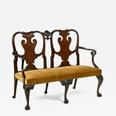 Irish George II Mahogany Two Chairback Settee