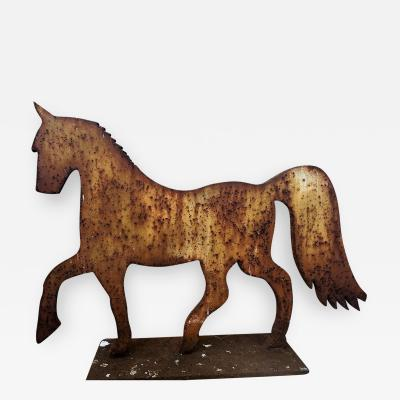 Iron Formal Horse in Weathered Painted Surface