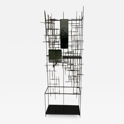 Iron and Bronze Welded Sculptural Modernist Entrance Glass Mirror Stand