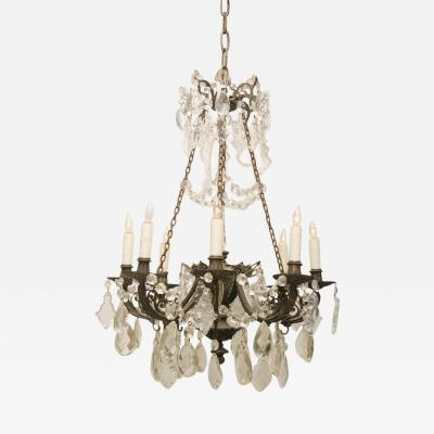 Iron and Crystal Converted Gas Light Chandelier