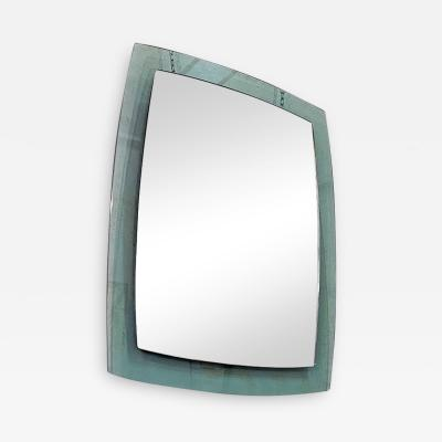 Irregular mirror with aquamarine green glass 1970s
