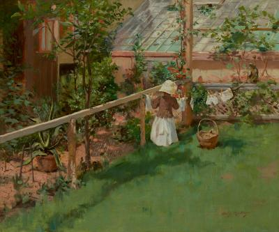 Irving Ramsey Wiles At the Clothesline