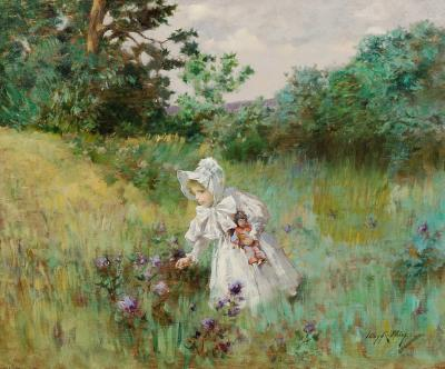 Irving Ramsey Wiles Picking Flowers