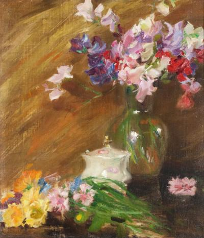 Irving Ramsey Wiles Still Life with Bouquet and Sugar Bowl