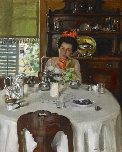 Irving Ramsey Wiles Woman at a Table
