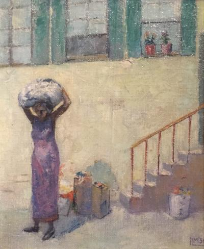 Isaac Muse 1934 Isaac Muse Laundry Day Oil on Canvas