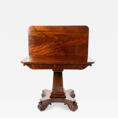 Isaac Vose American cubus mahogany flip top game table with scroll feet