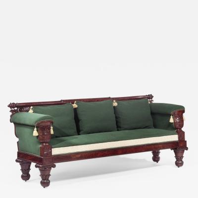 Isaac Vose Classical Carved Mahogany Sofa