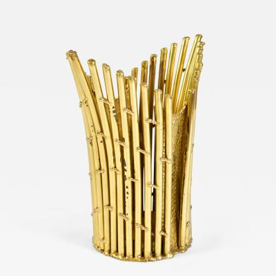 Isabelle Faure French 1980s brass umbrella stand waste paper basket by Isabelle Faure