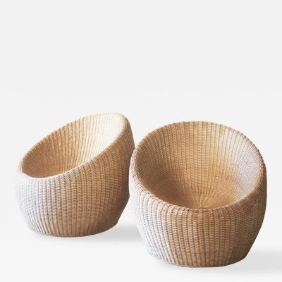 Isamu Kenmochi Pair of Rattan Chairs