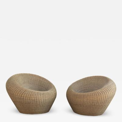 Isamu Kenmochi Rattan Round Chairs by Isamu Kenmochi