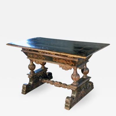 Italian 17th Century Baroque Painted Walnut Center Table
