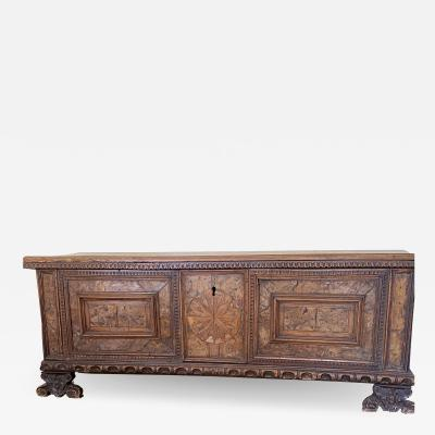 Italian 17th century Walnut Cassone