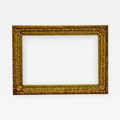 Italian 1850 Baroque Carved Gold Leaf Picture Frame 34x52