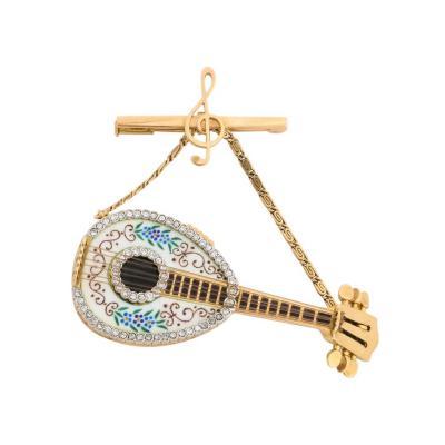 Italian 18K Gold Enamel And Diamond Mandolin Pendant Watch Brooch G Ferrero