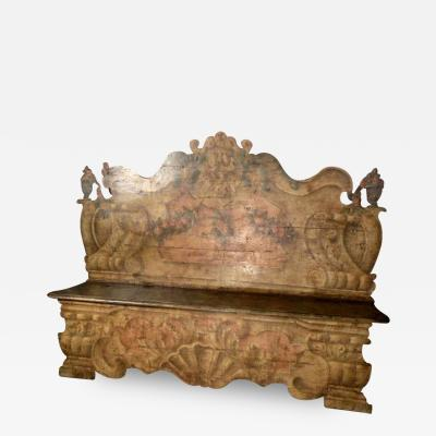 Italian 18th Century Painted Baroque Cassapanca