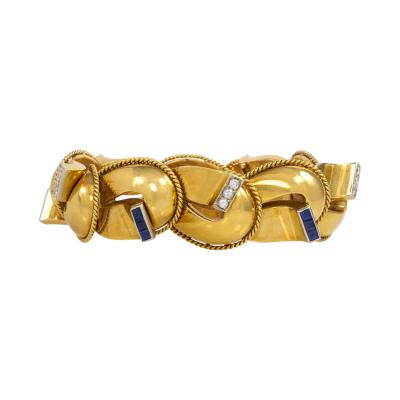 Italian 1940s Gold Sapphire and Diamond Bracelet
