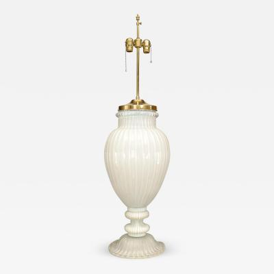 Italian 1940s Neo Classic Style Monumental White Murano Glass Table Lamp