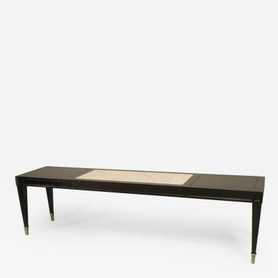 Italian 1940s Neoclassic Ebonized Narrow Rectangular Coffee Table