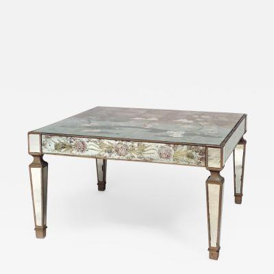 Italian 1940s Reverse Painted Mirrored Square Coffee Table