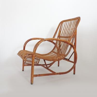Italian 1940s wicker lounge chair att to Casa E Giardino