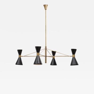 Italian 1950s Chandelier in Brass with Black Lacquered Diabolo Lamps