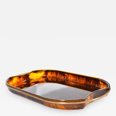 Italian 1950s Lucite and brass faux tortoise shell tray