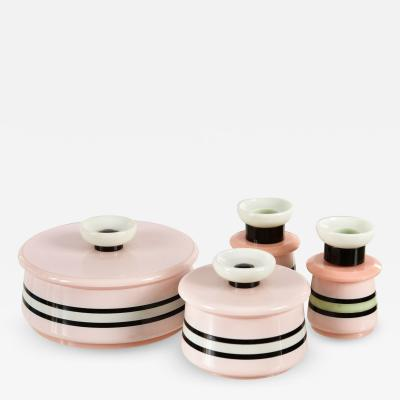 Italian 1950s bakelite pink black and white dressing table set
