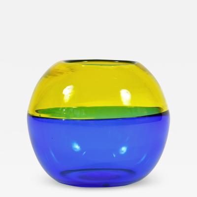 Italian 1950s blue and yellow Murano globe vase