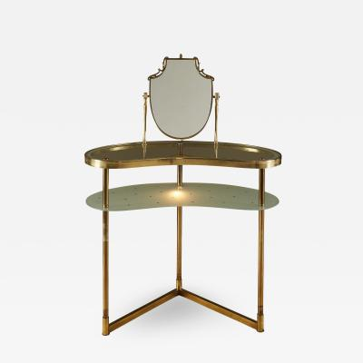 Italian 1950s brass and polka dot glass dressing table