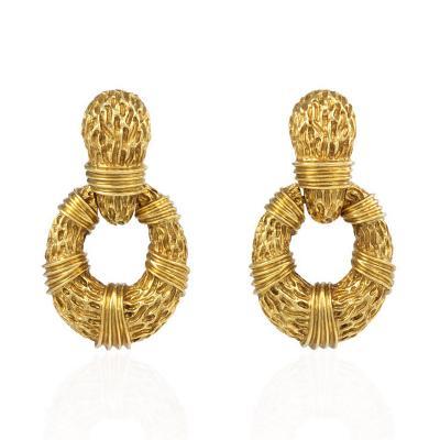 Italian 1960s Gold Doorknocker Earrings